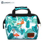 sac isotherme flamant rose plume , logo lunchyshop