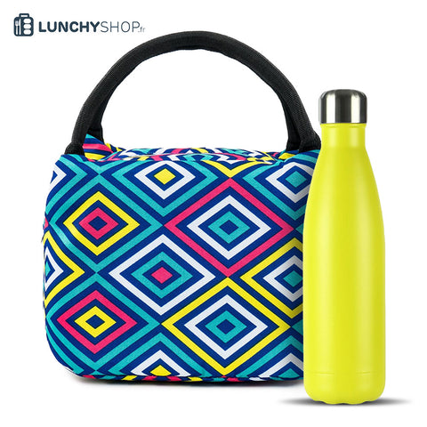 pack bouteille isotherme unie jaune spray sac isotherme electro fun, logo lunchyshop