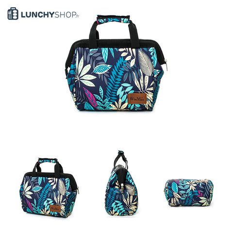 vue des diffèrentes faces du sac isotherme toprical jungle logo lunchyshop