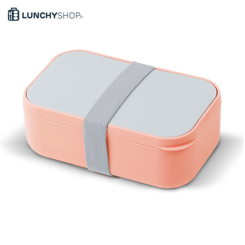lunch box bento rose sur fond blanc logo lunchyshop en haut à gauche