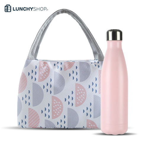 pack sac isotherme scandinave bouteille isotherme rose pastel finition spray, logo lunchyshop