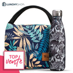 pack sac isotherme tropical et bouteilles isotherme tropicale monochrome, logo lunchyshop