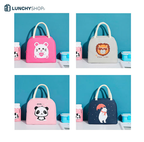 sac isotherme enfant cartoon collection sur fond décor logo lunchyshop