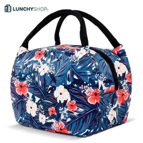 sac isotherme printemps tropical vue cote sur fond blanc logo lunchyshop