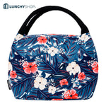 sac isotherme printemps tropical sur fond blanc logo lunchyshop