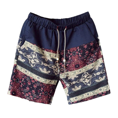 Polynesian Patterned Linen Lounge Shorts