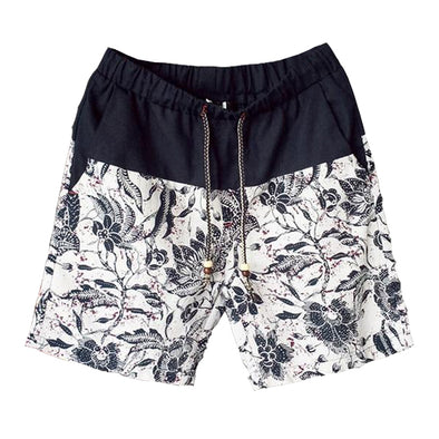 Hawaiian Foliage Linen Lounge Shorts