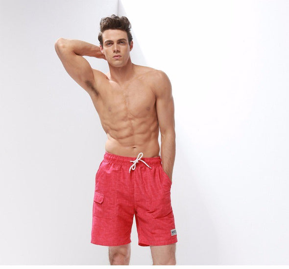 Red Textured Swim Trunks