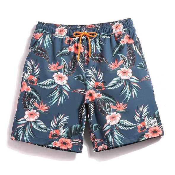 Vintage Peach Floral Swim Trunks