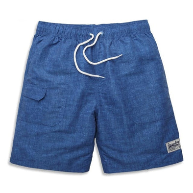 Blue Textured Swim Trunks
