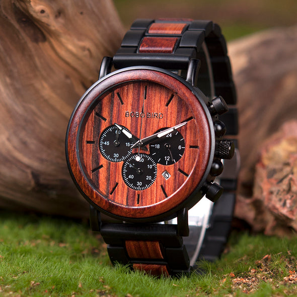 Two-Tone Chronograph Wood Watch