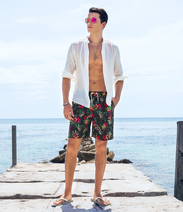 Pink Hibiscus Swim Trunks