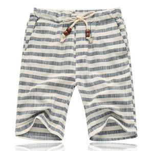 Gray Striped Linen Shorts