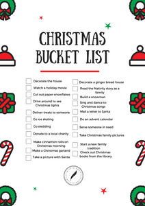 Christmas Bucket List - Free Printable
