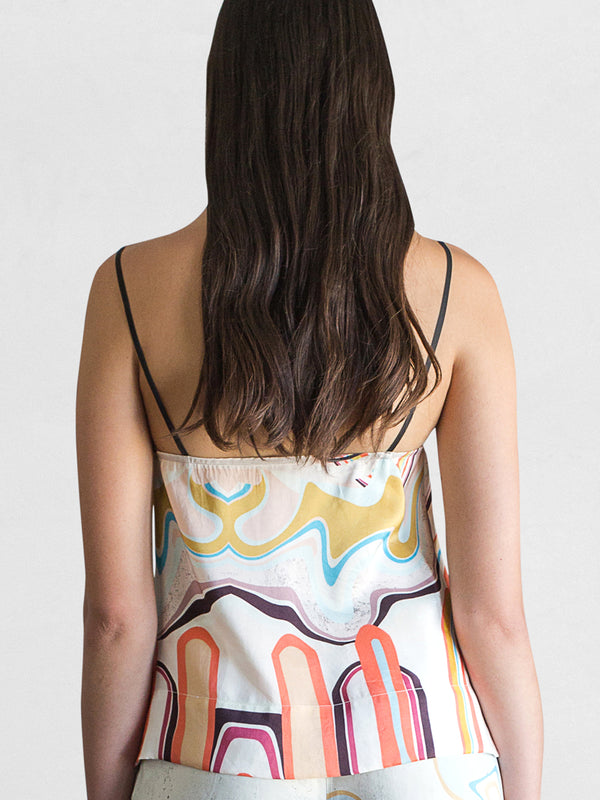 Waves Print - Silk Camisole