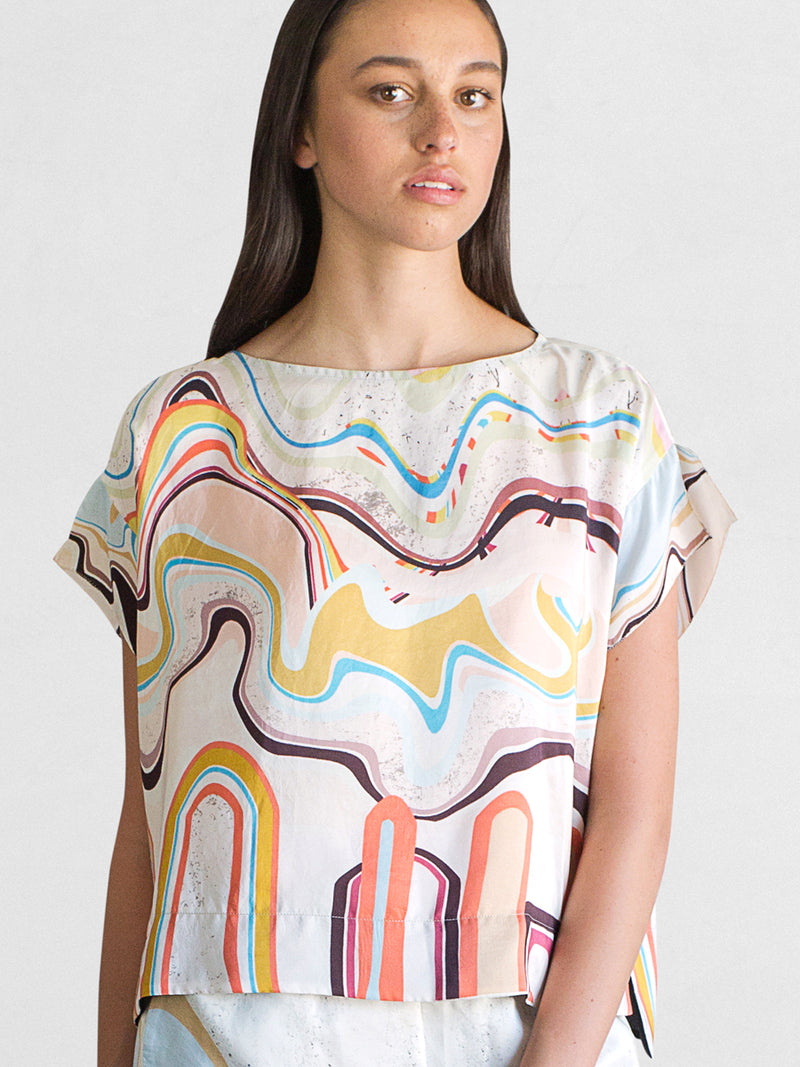 Waves Print - Silk T Shirt