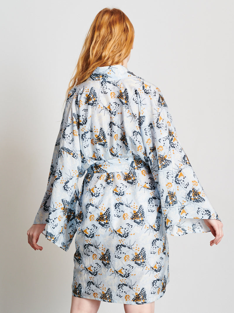 Animal Butterfly- Kimono, Light Blue