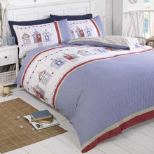 Load image into Gallery viewer, Featuring a fun nautical themed beach huts design in beautiful blue, red and white colourways, this duvet cover set comes complete with pillowcase(s) and has been crafted from a soft and durable polycotton blend.