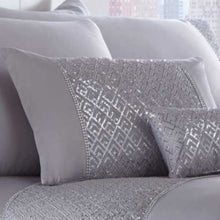Load image into Gallery viewer, A deluxe combination of glittering sequins on silver satin fabric. This boudoir cushion shimmers and shines, adding pure glamour to any bedroom.