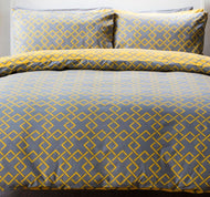 Atlanta Duvet Set - Single - Navy & Saffron