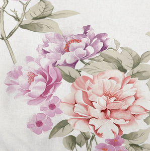 Aubrey by Belledorm double duvet set With soft tones of lilac and pink, on a white background, Aubrey is a large scale floral design that would suit both a contemporary or classic leisure vehicle