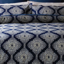 Load image into Gallery viewer, Ava by Belledorm double duvet set A striking geometric design that is bold, dramatic and confident. Deep navy and ivory tones work perfectly together to create an on trend feel. Made from cool 200 thread count 100% pure cotton the duvet set includes oxford style pillowcases to add an extra finishing touch.