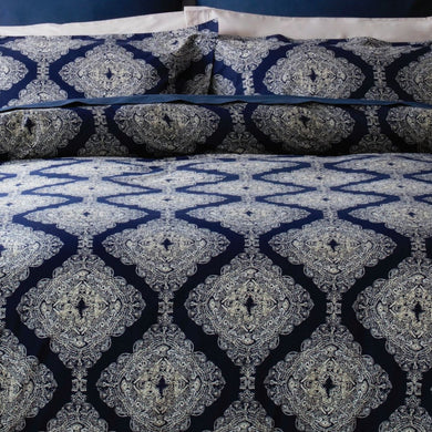 Ava by Belledorm double duvet set A striking geometric design that is bold, dramatic and confident. Deep navy and ivory tones work perfectly together to create an on trend feel. Made from cool 200 thread count 100% pure cotton the duvet set includes oxford style pillowcases to add an extra finishing touch.