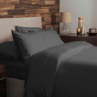 Charcoal grey brushed cotton single bedding set