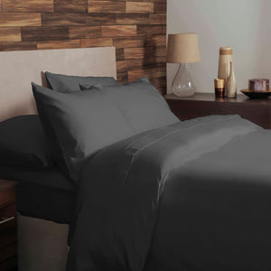 Charcoal Grey brushed cotton double bedding set