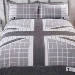 These Cool Britannia duvet covers feature a retro style union jack print with tartan check accents in shades of silver and grey.