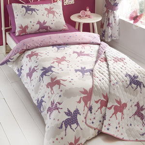 twinkling divine unicorns in delicate shades of pink, silver and lilac. Their elegant wings and mystical horn look majestic in the star and cloud filled crisp white sky