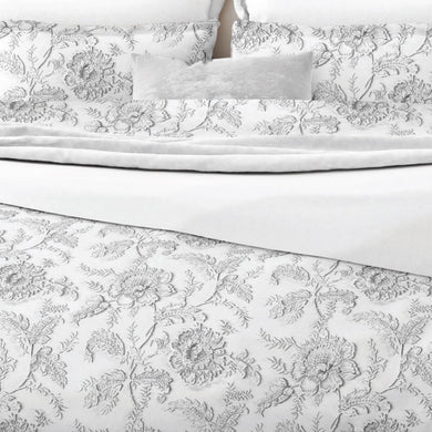 Light grey floral on a white background. Belledorm Ella Range 100% otton duvet set