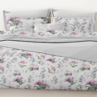 Elsbeth by Belledorm Printed on a crisp white background with flower heads in the prettiest of pink, leaves in the softest of green and touches of grey, Elsbeth is a truly fresh and modern floral. Made from cool 200 thread count 100% pure cotton the duvet set includes oxford style pillowcases to add an extra finishing touch