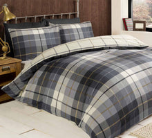 Load image into Gallery viewer, Blue This classic Lomond tartan check print duvet cover is the perfect way to add some traditional and trend driven design into your van. The rich colours throughout are ideal for this season and the coordinating understated reverse print adds some superb extra detail.