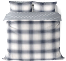 Load image into Gallery viewer, These Oakland duvet covers feature a classic tartan check design and star reverse, brought up to date in shades of denim blue.