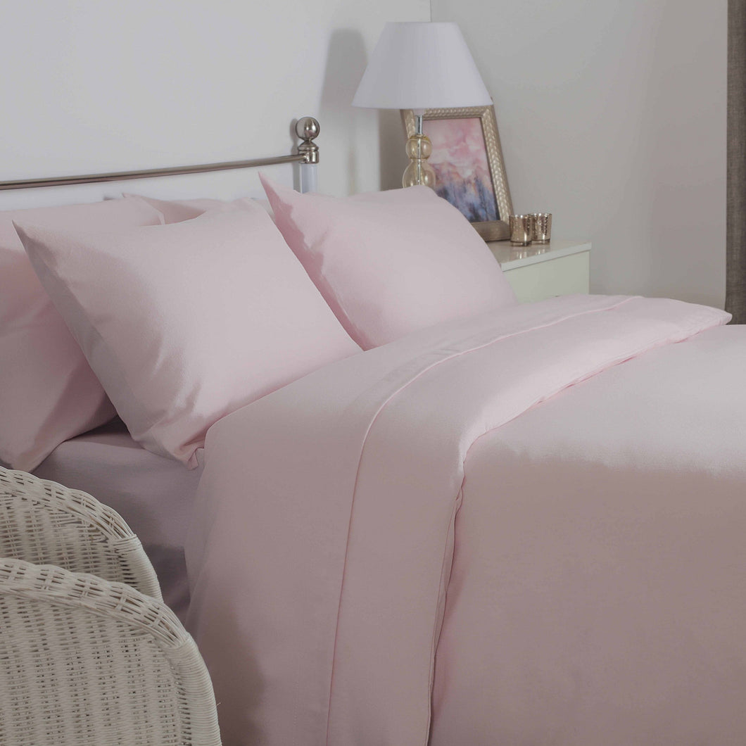 Powder Pink brushed cotton double bedding set