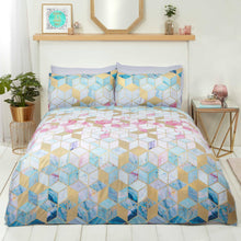 Load image into Gallery viewer, Quartz Rapport bedding. Geometric cubes with turquoise, pink and gold accents