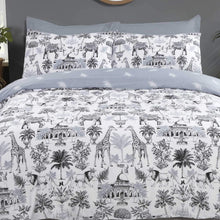 Load image into Gallery viewer, Mono coloured reversable duvet set. giraffes, lions, elephants, trees and garden buildings