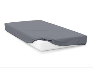 slate  right hand bed shape egyptian cotton fitted sheet