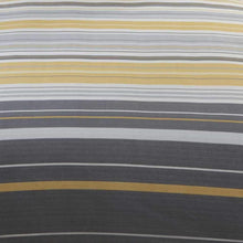 Load image into Gallery viewer, Dark Grey, light grey and ochre stripe duvet close up