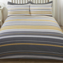 Load image into Gallery viewer, Dark Grey, light grey and ochre stripe duvet set