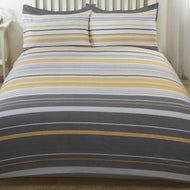 Dark Grey, light grey and ochre stripe duvet set