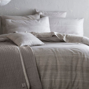 Inspired by the nautical trend, the soft grey linear print of Admiral brings calming, subtle pattern and texture to your bedroom. Printed onto our heat retaining yet light and breathable cotton and linen mix, this collection is perfect for all year round.