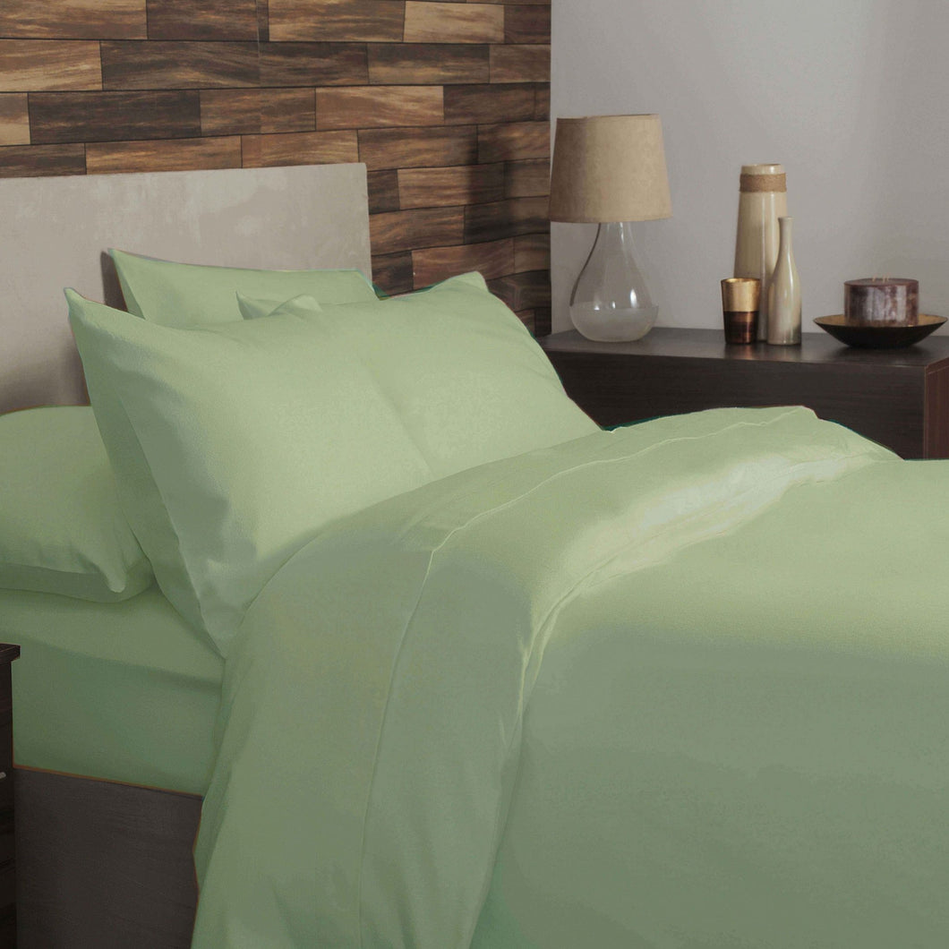 Brushed Cotton Plain Dye Duvet Set - Double - Apple