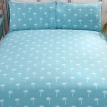 Load image into Gallery viewer, reverse of Bright and stylish California quilt set with vibrant surfer beach design. This bedding is available in a fresh blue colour palette ensuring this bedding will look sensational in any modern bedroom.
