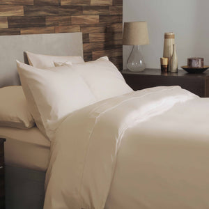 Brushed Cotton Plain Dye Duvet Set - Double - Cream