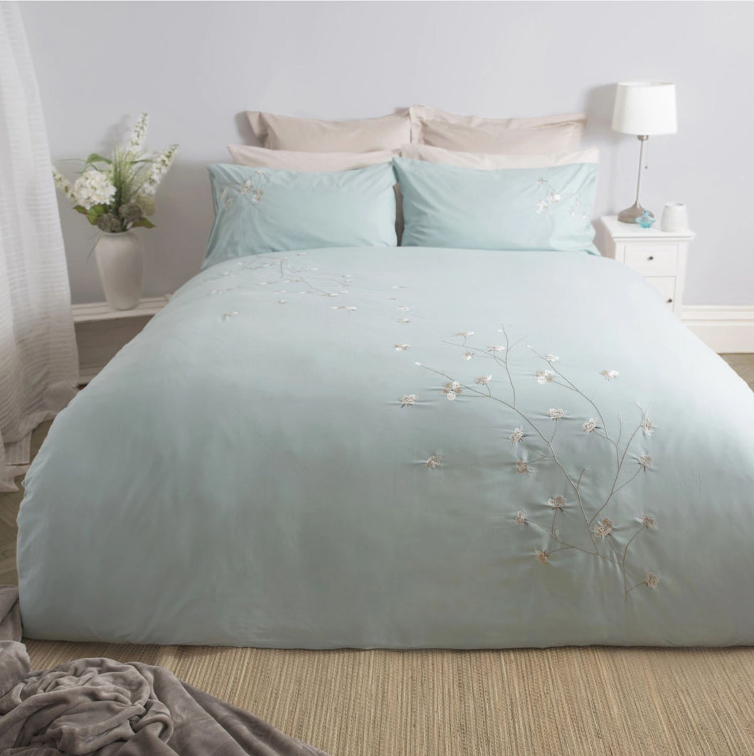 Raeya Double Duvet Set - Duck Egg