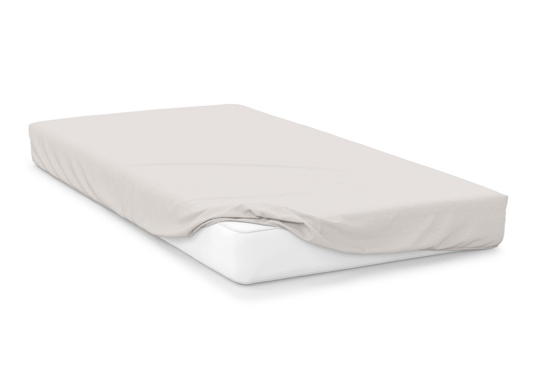 ivory  right hand bed shape egyptian cotton fitted sheet