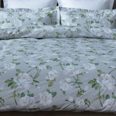 Mishka by Belledorm Large scale white peonies ,delicate greenery and a soft grey background gives Mishka a truly pretty and contemporary feel.