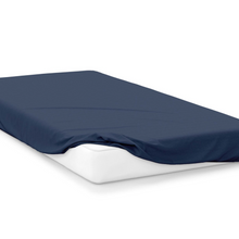 Load image into Gallery viewer, navy  right hand bed shape egyptian cotton fitted sheet